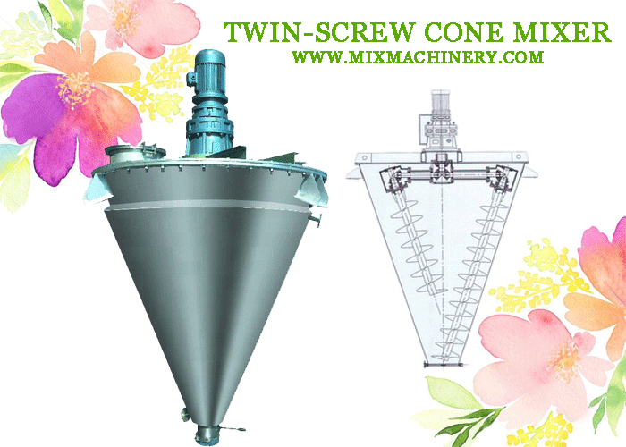 Twin-screw cone mixer